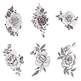 Tattify Floral Temporary Tattoos - A Rose by Any Other Name (Complete Set of 12 Tattoos - 2 of each Style) - Individual Styles Available - Fashionable Temporary Tattoos (Color: A Rose by Any Other Name)