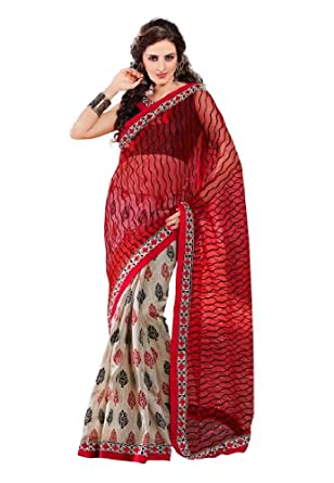 Fabdeal Women Net Embroidered Saree with Blouse Piece available at Amazon for Rs.1599