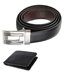 Kesari's Black Leather Combo Of Belt & Wallet For Men