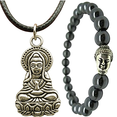 ON SALE Buddha Bracelet and Pendant Necklace for Men or Women Jewelry Set