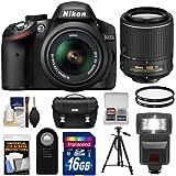 Nikon D3200 Digital SLR Camera & 18-55mm G VR DX AF-S Zoom Lens (Black) + 55-200mm VR II Lens + 16GB Card + Flash + Case + Filters + Remote + Tripod + Accessory Kit