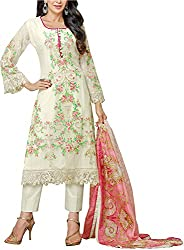 Go Traditional Women's Georgette Unstitched Dress Material (White)