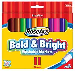 RoseArt Bold and Bright Washable Broadline Markers, 11-Count, Packaging May Vary (40206UA-24)