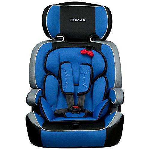 XOMAX XM-K4 + Seggiolino per auto + Adatto per i bambini tra 1 e 12 anni di età e di peso 9-36 kg + testato e approvato in ECE R 44/04 Gruppo 1/2/3 + colore blu / nero / grigio + Cintura di sicurezza a 5-punti + il poggiatesta è regolabile + sedile per la clase III + Lo schienale è removibile