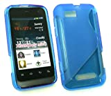 Emartbuy® Motorola Defy Mini XT320 Wave Pattern Gel Skin Cover Blue