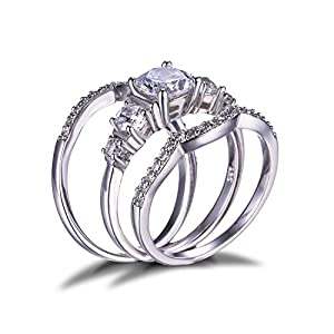Jewelrypalace Women's 1.4ct Cubic Zirconia Engagement Bridal Set Wedding Anniversary 925 Sterling Silver Ring 3 Piece Size 7
