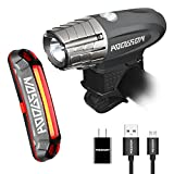HODGSON Both USB Rechargeable Bike Light - Super Bright 315 Lumens Front Light and LED Bike Tail Light set, Splash-proof and Easy to Install & Remove for Safe Cycling