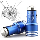 AaBbDd Dual Port USB Metal Alloy Car Charger, 2 Port USB Car Adapter,with Life Saving Hammer For Iphone And Android...