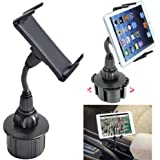 ChargerCity® 360º Rotation Bendable Cup Holder Car Mount for Smartphone and Midsize Tablet Samsung Galaxy Tab Note 5 4 S7 S6 Edge S5 Edge Pro iPhone 6S 6 Plus 6S 6 iPad mini LG G5 Pad HTC MOTO