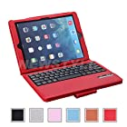 NEWSTYLE Folding PU Leather Folio Case Cover & Stand w/ Removable Bluetooth Keyboard For iPad Air iPad 5 5th Generation / iPad Air 2 Tablet - Red Color