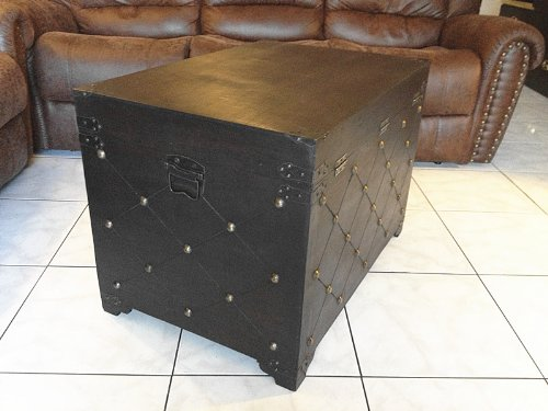 Replica vintage-style wooden coffee table (locker) decorative with nail head (HF 037-A) 1