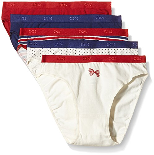 Dim Pockets Coton-Mutande Donna    Rouge (Lot Rouge/Bleu Rayures Pois) L