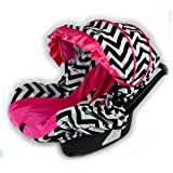 Rush Dance Toddler Infant Baby Complete Car Seat Cover Canopy Kit (Infant Car Seat, Zoe - Hot Pnk & Black Chevron)