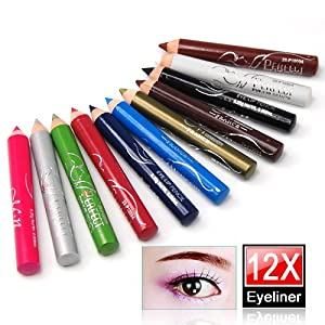 LE 12 Assorted Colors Cosmetic Makeup Eyeliner Pencil Eyebrow Eye Liners
