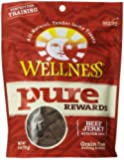 Wellness Pure Rewards Natural Grain Free Dog Treats Made in USA Only, Beef Jerky, 6-Ounce Bag
