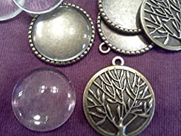 Tree of Life Pendant Kit, 10 Sets, Antique Bronze, 32x28mm