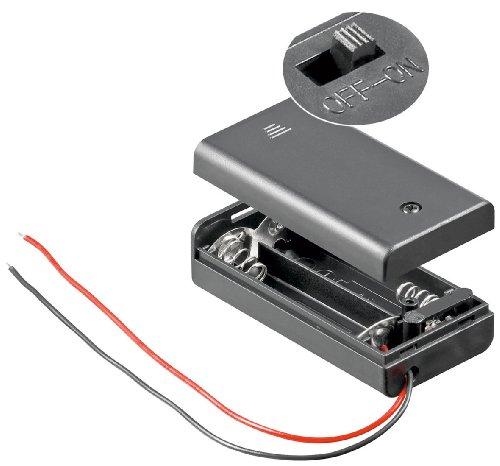 Wentronic Support de piles Boîtier fermé pour 2 piles AA Lot de 10