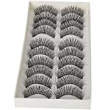 eFuture(TM) 1set(10 pairs) reusable thick wispies handcraft natural elongated cross false eyelashes +efuture's nice keyring