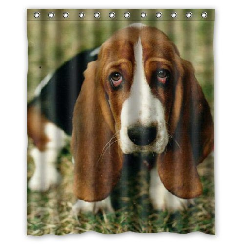 Tic-Tac Curtains Unique Basset Hound Custom Shower Curtain Cover ,60 X 72-Inch