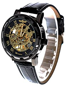 Men's Classic Steampunk Bling Mechanical Wrist Watch with Elegant Skeleton Dial Black