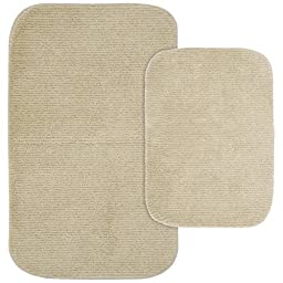 Garland Rug 2-Piece Glamor Nylon Washable Bathroom Rug Set, Linen