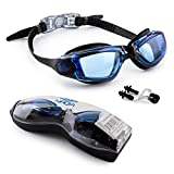 Naga Sports Marine Swimming Goggles - Anti Fog Anti Shatter Leakproof Waterproof with UV Protection for Men Women Kids Adults - Black/Blue