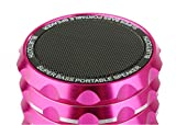 Shocking Metal 360 Degree Rotation Volume Control Wireless Portable Bluetooth Mini Speaker Super Bass Subwoofer Clear Stereo Audio Sound Hands Free Speakerphone FM Radio Support 32 GB IF Card Compatible with Apple iPhone iPad iPod Samsung HTC Cellphone Tablets Laptop and Other Smart Device with Bluetooth - Rose