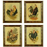Set of 4 Vintage Rooster Artwork for the Kitchen, Individually Set Under Glass in Exquisite Burl Style Frames