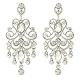 JoinMe Women's Vintaged Style Crystal Drop Chandelier Filigree Dangle Pierced Earrings Silver-Tone Clear