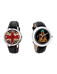 Gledati Men's Multicolor Dial And Foster's Women's Black Dial Analog Watch Combo_ADCOMB0001901