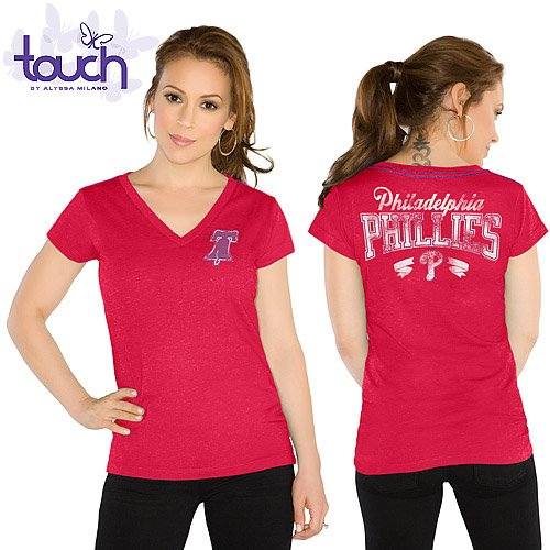 MLB Touch by Alyssa Milano Philadelphia Phillies Womens Outfield Slim Fit T-Shirt - Red (Medium) at Amazon.com