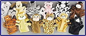 1 Dozen Velour Animal Hand Puppets Kids TOY Preschool Kindergarten