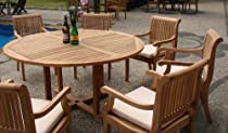 "Hot Sale New 7 Pc Luxurious Grade-A Teak Dining Set - 60"" Round Table And 6 Giva Arm / Captain Chairs"
