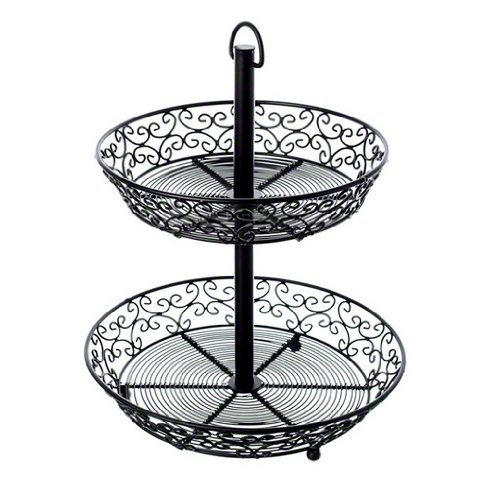Tablecraft BKT2A Steel Mediterranean Series 2-Tiered Display Basket, 12-Inch