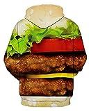 Unisex 3D Hamburger Printed Warm Long Sleeve Hoodie Sweatshirts for Christmas