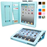Snugg iPad 2 Executive Leather Case in Baby Blue - Flip Stand Cover with Card Slots, Pocket, Elastic Hand Strap and Premium Nubuck Fibre Interior - Automatically Wakes and Puts the Apple iPad 2 to Sleep