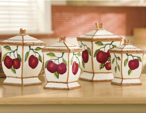Tuscany Red Apple With Bamboo Trim Hand Painted, Canister Set Of 4, 84301 By Ack front-279185