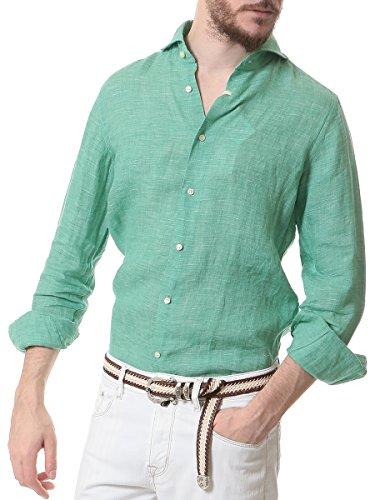 (ギローバー) GUY ROVER 麻100% ホリゾンタルカラー 長袖シャツ [GRB2410L551301] グリーン / S [並行輸入品]