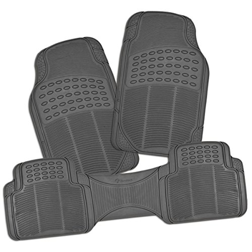 Zone Tech All Weather Rubber Semi Pattern Car Interior Floor Mats - 3-Piece Set Gray Heavy Duty Car Interior Floor Mats (Car Floor Plastic Mats compare prices)