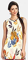 Snoogg Colorful Flowers Printed Womens Casual Short Kurti