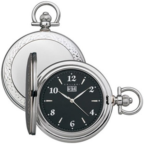 Colibri Large Pocket Watch With Chain Sterling Sliver And Stainless Large Easy To Read Numbers Pwq099000S