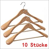 DXP 10 Stück Holz Kleiderbügel Holzbügel Formbügel mit Hosensteg Breite