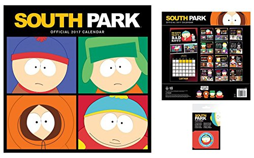Set: South Park, Calendario Ufficiale 2017 (30x30 cm) E 1x Porta Carte Di Credito (10x7 cm)
