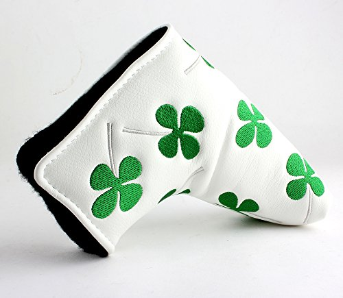 Craftsman Golf Brand New WHITE GREEN SHAMROCK CLOVER Golf Blade Style Putter Head cover Headcover - 1
