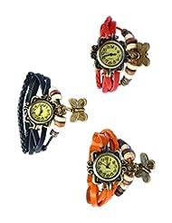 Felizo Combo Offer Pack Of 3 Multi Strap Fancy Butterfly Bracelet Vintage Watch (Red, Black & Orange)