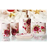 Bath Ensemble,5 Piece Country Style Pink ABS Material,Bathroom Accessories Set
