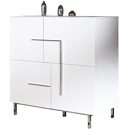 Commode avec 4 portes coloris blanc laqué - Dim : L 116 x H 135 x P 50 cm -PEGANE-