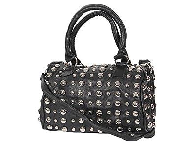 Handtasche Nietentasche Vintage mit Nieten Tasche Shopper Bag Damentasche alle Farben, Farbe wählen:NT-01 schwarz