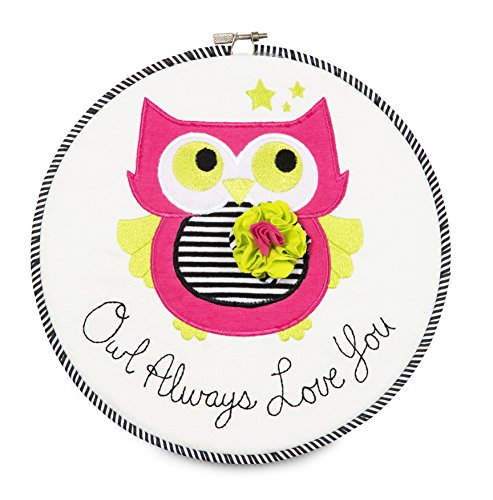 "Pavilion Gift Company 38180 Embroidered Wall Covering, 9-1/2"", Owl Always Loves You"