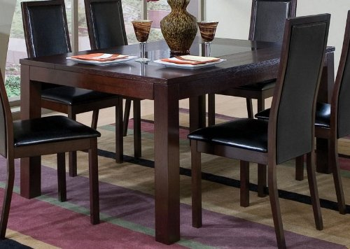 Cheap Dining Table with Black Glass Top Inlay Cappuccino Finish (VF_AZ00-45722×30570)